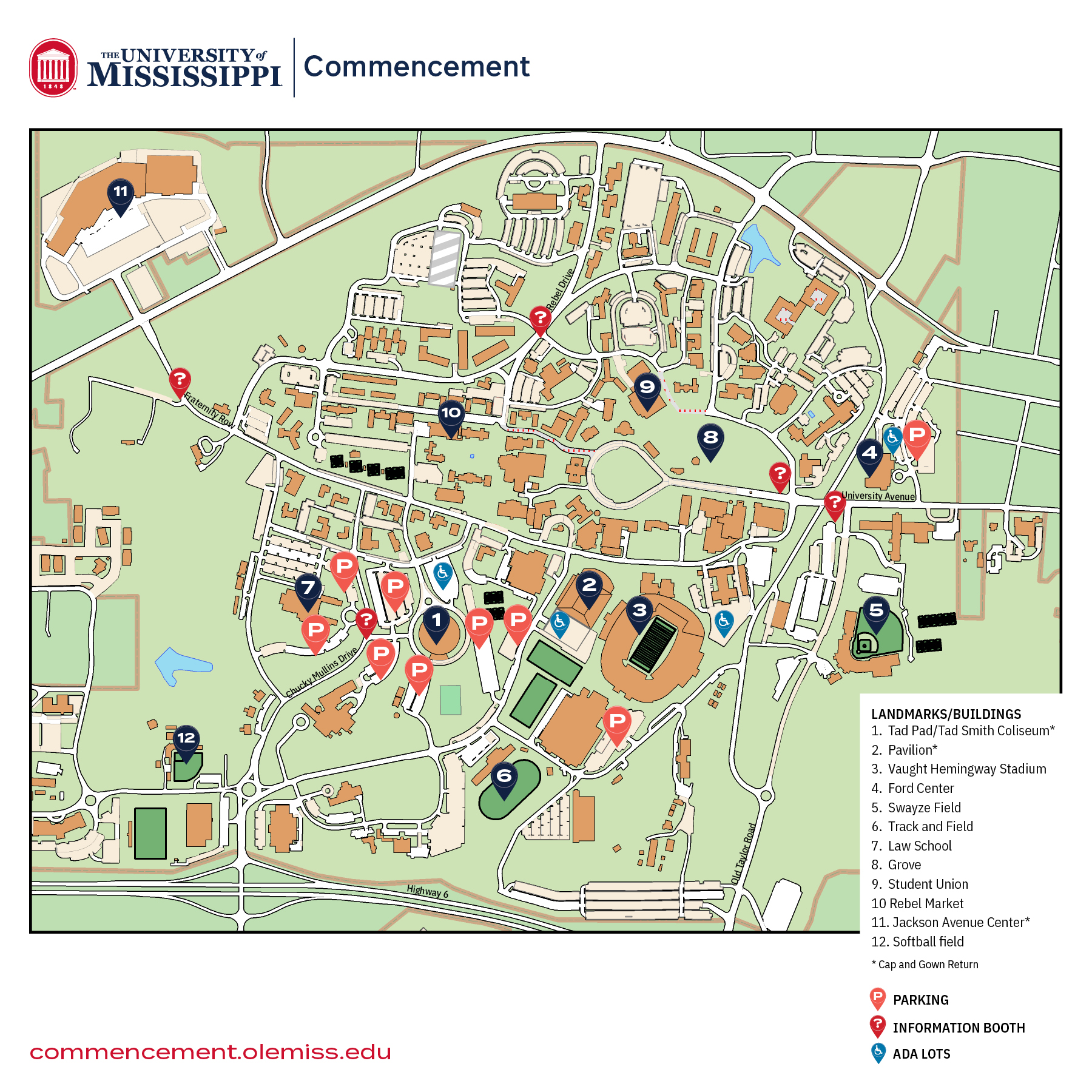 This map includes visual resources outlining important venues and parking lots available to guests for Commencement exercises